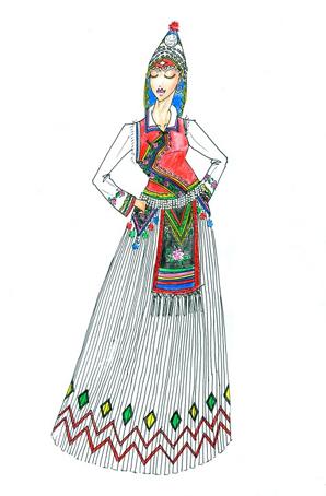 傈僳族演出服饰订制民族舞蹈服装设计