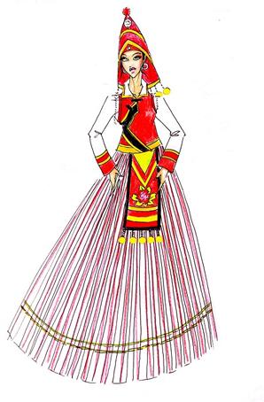 傈僳族演出服订制少数民族舞蹈服装设计