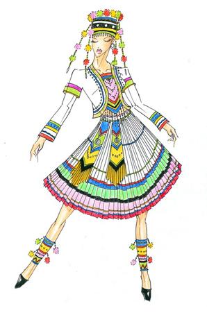 少数民族舞蹈服装设计傈僳族演出服订制