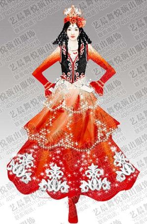 艺晨舞悦新疆舞蹈服装民族演出服定制新疆舞蹈服装定制厂家