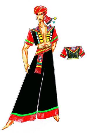 彝族男士舞台演出服设计少数民族舞台表演服饰定做