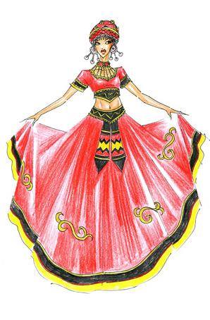 民族舞大摆裙服饰设计彝族舞蹈演出服装定制