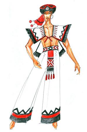 彝族男士舞台演出服装生产定制少数民族舞蹈服装设计
