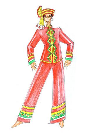 少数民族舞蹈服饰设计彝族舞台演出服定制