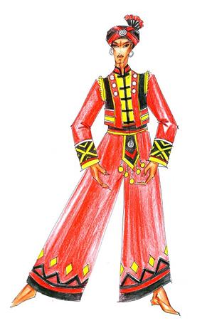 彝族舞蹈原创服装定制少数民族服饰订做