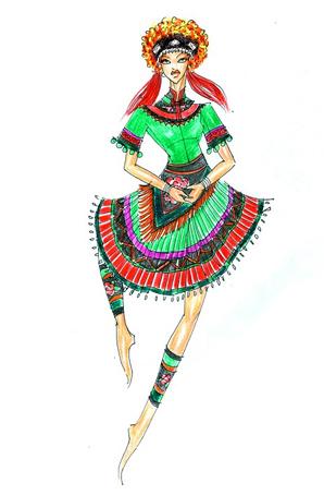 彝族舞蹈女装定制少数民族舞台服定做