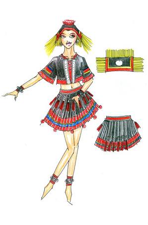 彝族舞蹈服女装设计少数民族衣服定做