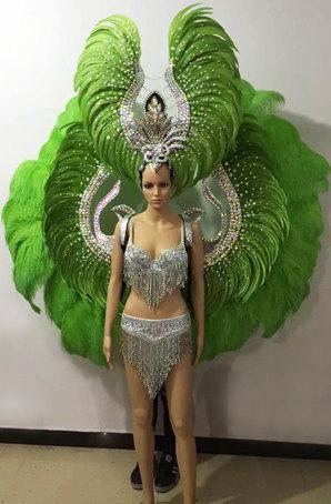 桑巴舞服装定制狂欢节羽毛服装设计桑巴舞演出服