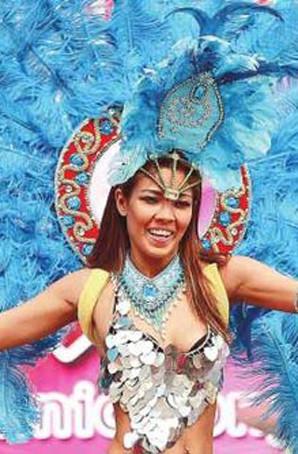 定制桑巴舞服装狂欢节表演服装羽毛背架