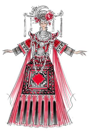 广西大型风情歌舞秀《锦宴》舞台演出服装定做设计
