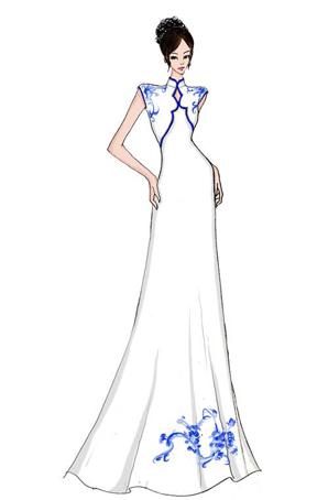 艺晨舞悦青花礼服设计立领舞台装长裙定制礼服
