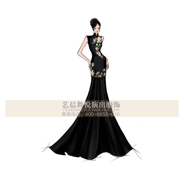 舞台服装演出服定制礼服长裙设计礼服鱼尾裙定做厂家