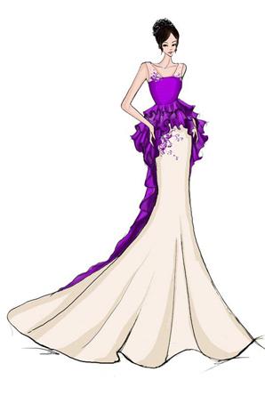 婚纱礼服设计鱼尾长裙定制舞台演出表演服礼服定做