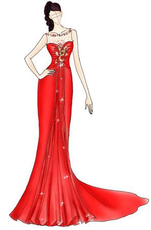 舞台礼服设计舞台演出服装长裙鱼尾裙礼服