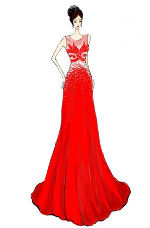 舞台演出礼服设计定制宴会服装定做连衣裙礼服