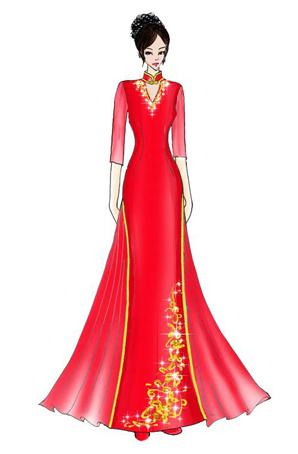 演出服定制红色中国风女士礼服长裙设计礼服舞台演出服