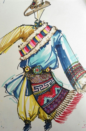 藏族舞蹈服装男藏袍设计舞台服装订做藏族舞蹈服装定制