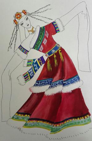 民族舞蹈服装设计女藏族舞蹈服装藏族舞蹈服装