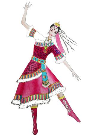 民族舞蹈演出服装设计藏袍女演出服装定制藏族舞蹈服装