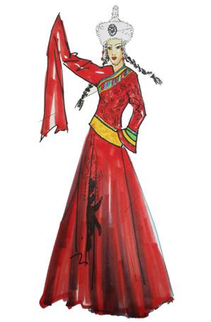艺晨舞悦大型舞台蒙古舞蹈演出服装设计女蒙古舞蹈服装