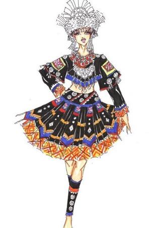 苗族节日盛装女舞蹈服装设计定制苗族舞蹈服装
