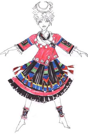 苗族盛装设计少数民族舞蹈演出服定制苗族舞蹈服装