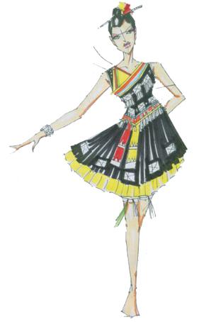 苗族舞服饰设计民族舞蹈服装定做苗族舞蹈服装