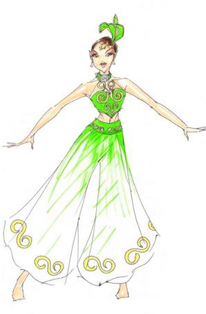艺晨舞悦民族舞蹈服定做彝族服装裤裙定做彝族舞蹈服装