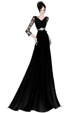 礼服设计合唱服装定制演出长裙女宴会服女士合唱服设计
