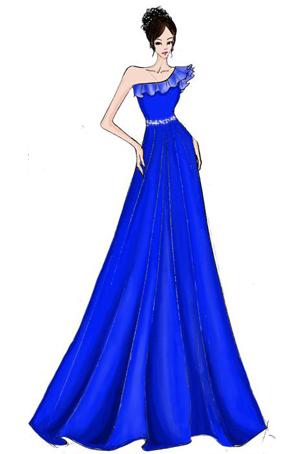 大合唱演出服装长裙设计定做斜肩礼服女士合唱服设计