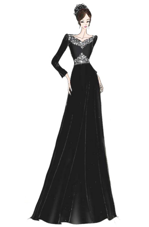 宴会服装设计定制女士合唱服装女士合唱服设计