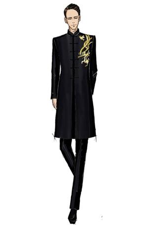 中式男装长款套装定制演出服设计男士合唱指挥服