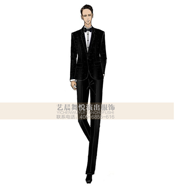 男士合唱西服套装定制礼服设计