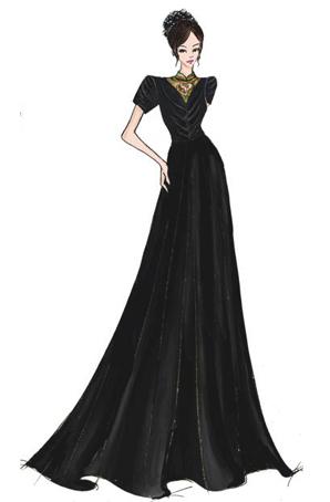 女士合唱礼服长裙定制演出服设计女士合唱服设计