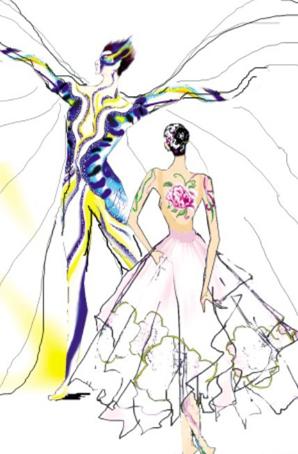 央视春晚《蝶恋花》晚会舞蹈演出服装定制晚会舞蹈演出服装设计晚会舞蹈演出服装厂家